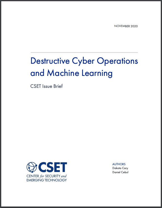Destructive Cyber Operations and Machine Learning Cover Photo