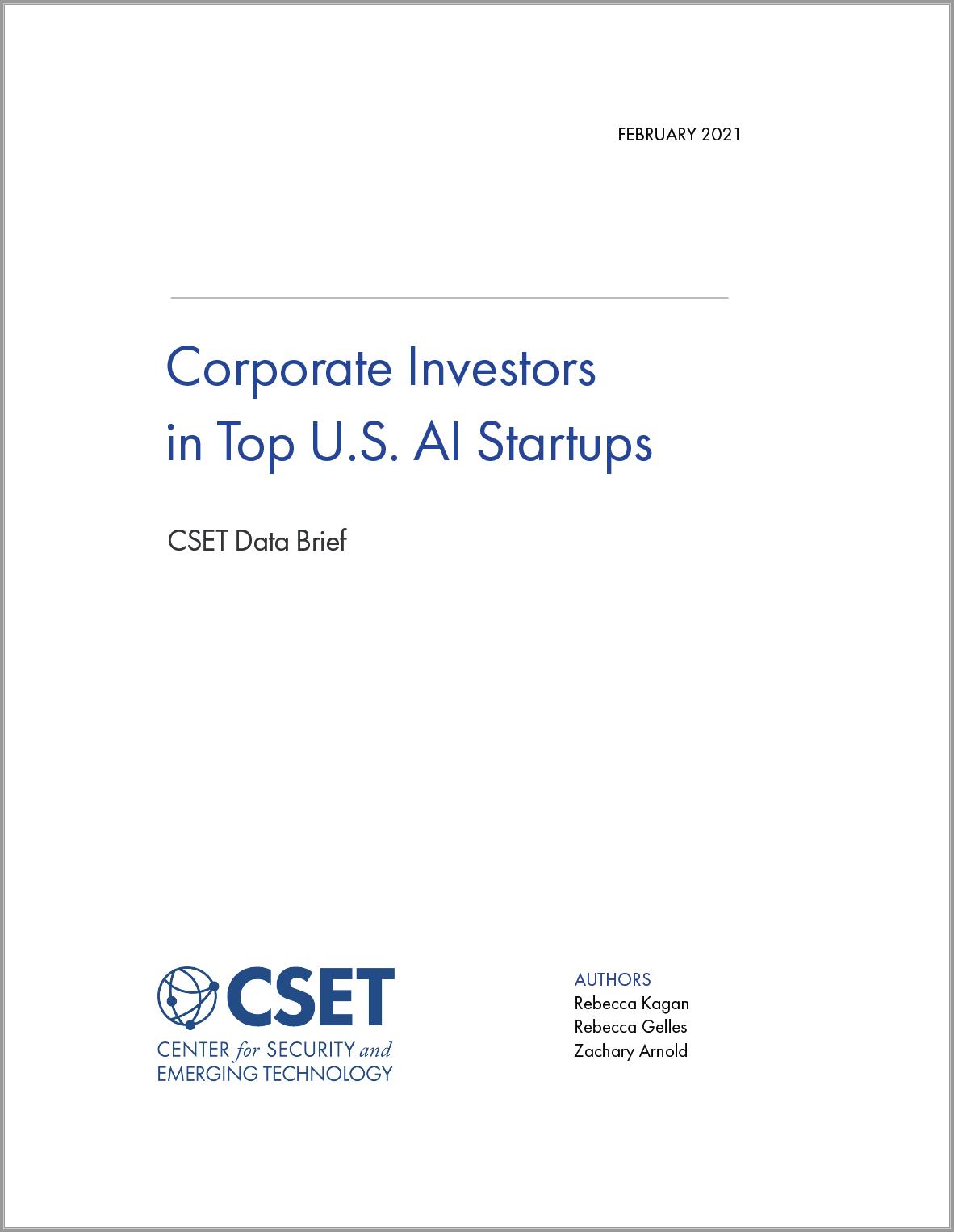 CSET - Corporate Investors in Top U.S. AI Startups Image