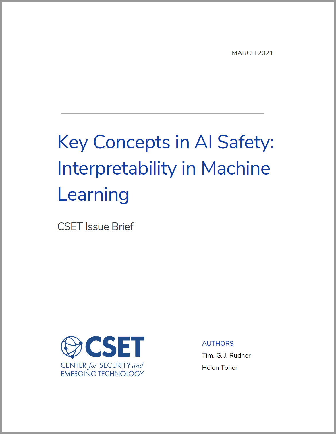 CSET - Key Concepts in AI Safety- Interpretability in Machine Learning Image