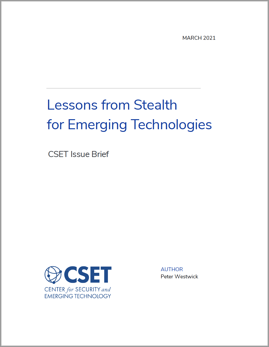 CSET Lessons from Stealth for Emerging Technologies Image