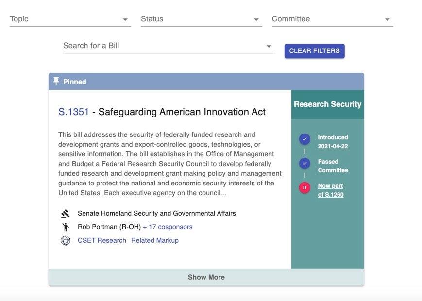 CSET Legislation Tracker Featured Image