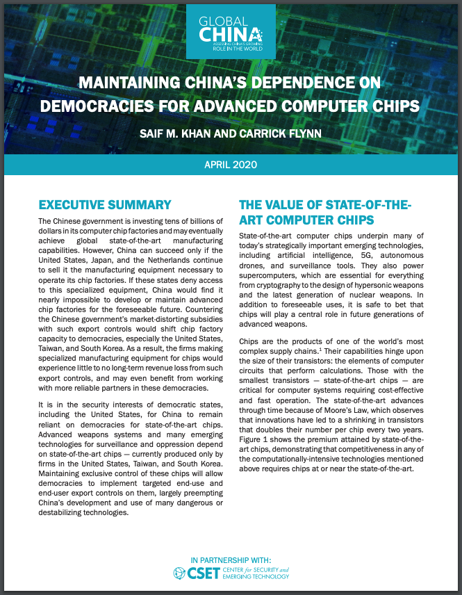 Maintaining China's Dependence Report Cover
