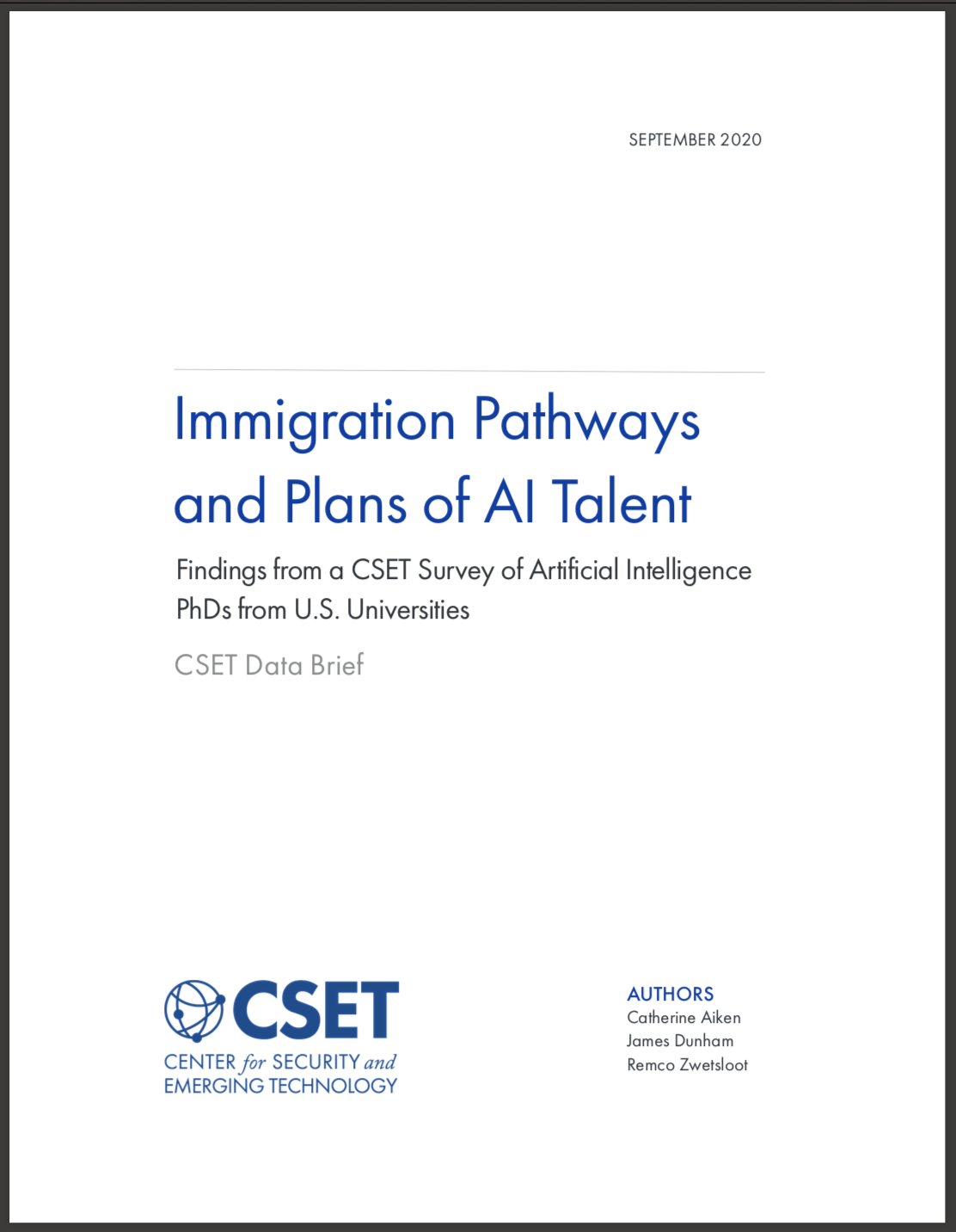 Immigration Pathways and Plans of AI Talent