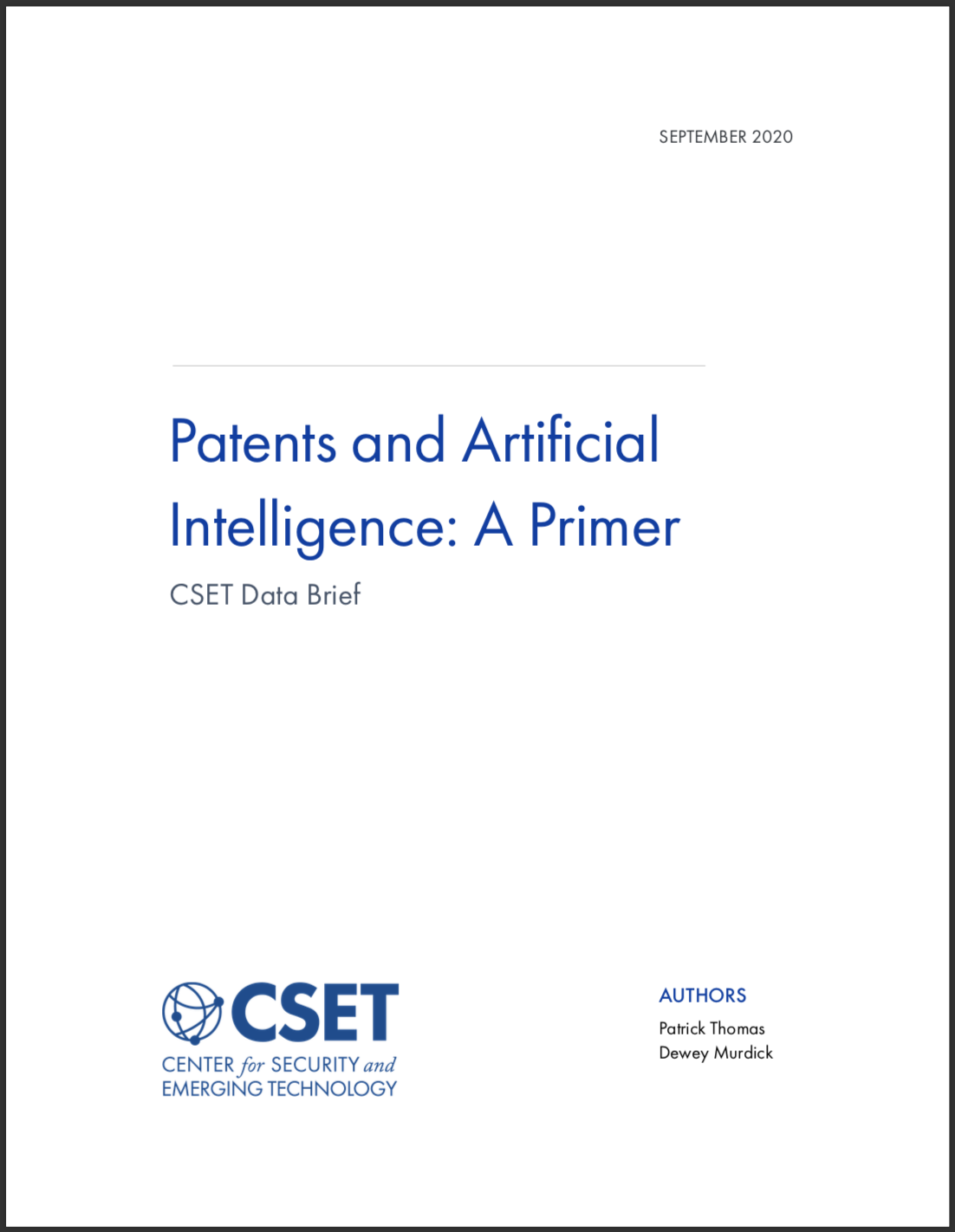 Patents and AI Brief Cover