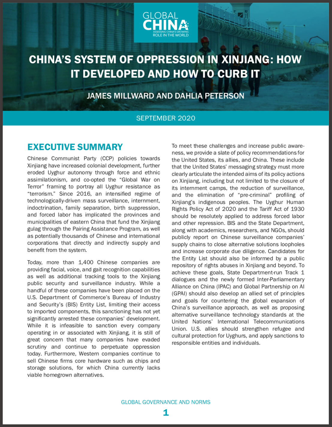 China's System of Oppression Report Cover